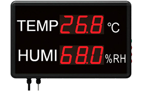 Large LED Temperature and Humidity Displays with Data Logging